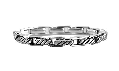 DAVID YURMAN STERLING SILVER 4 mm CABLE CHAIN LINK BRACELET SIZE S NEW BOX 45B