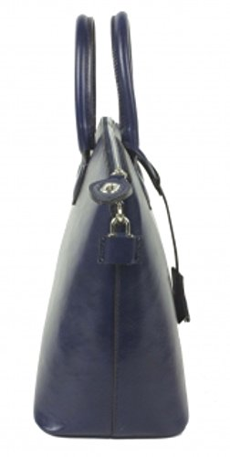 Superflybags Borsa Donna in Vera Pelle Tamponato Lucido modello Star Made in Italy Blu scuro
