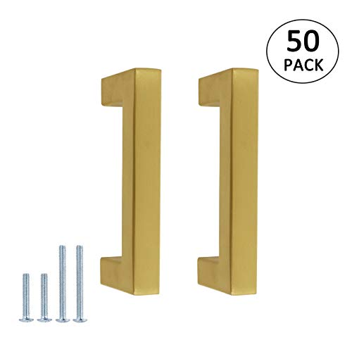 50 Pack Gold Cabinet Handles Square Cabinet Pull 3in 76 mm Hole Centers Brushed Brass Kitchen Hardware Stainless Steel Drawer Pulls and Knobs Bathroom Cupboard Drawer Dresser Handle ()