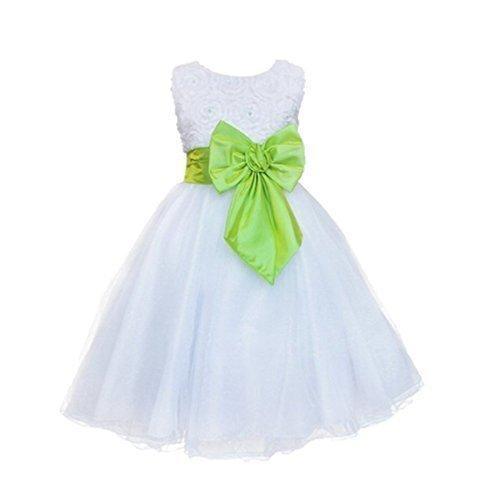 Amazon.com: Live It Style It Girls Colour Rose Bow White Princess Wedding Bridesmaid Dress: Clothing