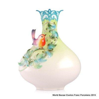 FZ02959 Franz Porcelain The Secret Garden Robin mid vase new spring 2013 - Porcelain Collection Vase