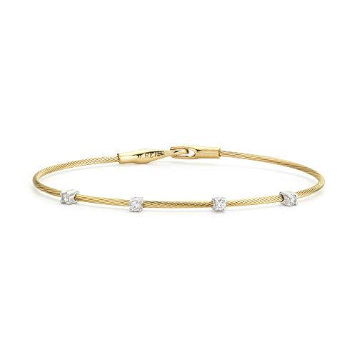 14K Yellow Gold 0.2ct TDW Diamond Station Wire Bracelet (Yellow Gold Station Bracelet)