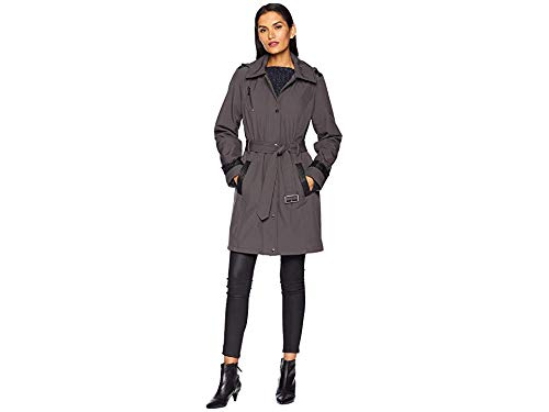 Michael Michael Kors Women's Snap Front Belted Softshell Coat M523004GZ Charcoal Large ()