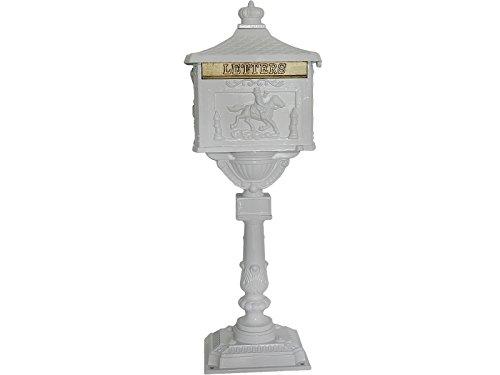 (Giantex Heavy Duty Postal Box Security Aluminum Post/Pedestal Cast Mailbox White)