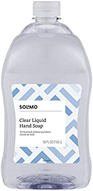 Amazon Brand - Solimo Gentle & Mild Clear Liquid Hand Soap Refill, Triclosan-free, 56 Fluid Ounces, Pack