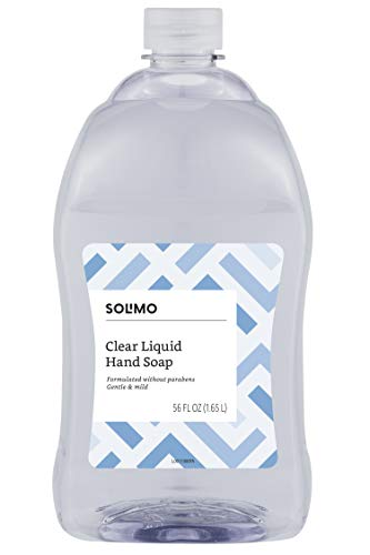 Amazon Brand - Solimo Gentle & Mild Clear Liquid Hand Soap  Refill, Triclosan-free, 56 Fluid Ounce (Best Liquid Hand Soap)