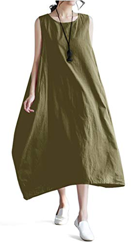 Ninmon Shares Women Linen O-Neck Sleeveless Loose Big Swing Long Beach Summer Maxi Dresses (Army Green)