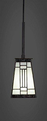 - Toltec Lighting 572-DG-9544 Apollo Cord Mini Hang Straight Swivel Pendant with Square Pewter Glass, 5