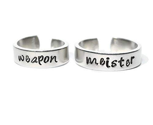 Weapon and Meister adjustable aluminum metal stamped ring pair