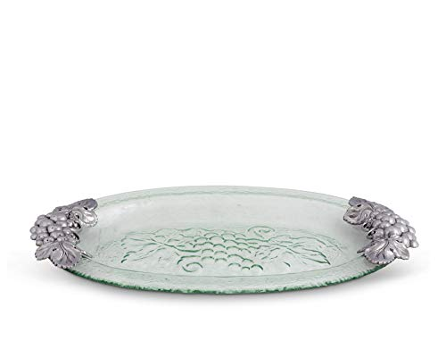 (Arthur Court Grape Glass and Metal Oval Platter, 20-Inch )