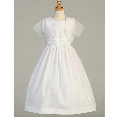 LITO White Satin Organza First Communion Dress Bolero Set...