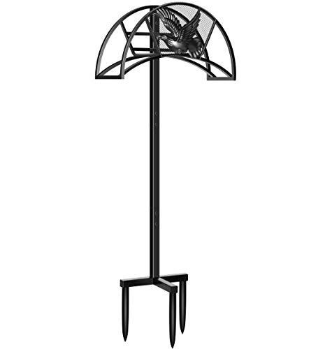 TomCare Garden Hose Holder Detachable Water Hose Holder Metal Hose Hanger Heavy Duty Hose Holder Free Standing Decorative Garden Hose Storage Hose Stand Hose Organizer for Outside Yard, Black (Hose Standing Holder Free)
