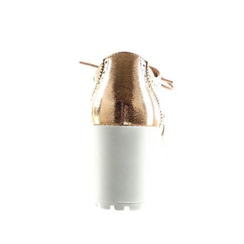 Angkorly - damen Schuhe Brogue Schuh - Plateauschuhe - Perforiert - glänzende Keilabsatz high heel 7.5 CM - Champagner