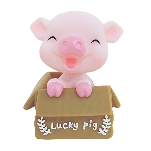 Floralby Cute Cartoon Pig Figurine Shakeable Miniatures Model Car Dashboard Ornament Home Office Decor - Dashboard Miniature