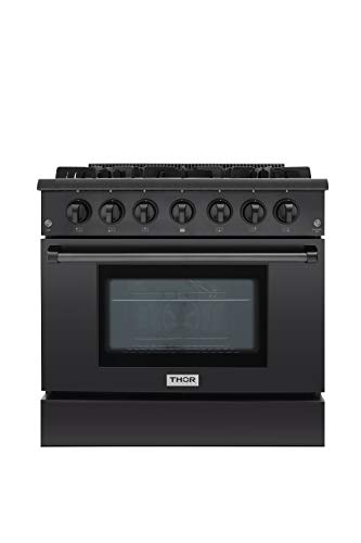 (Thor Kitchen Black 36'' Gas Range with 5.2 cu.ft Electric Convection Oven in Stainless Steel - 6 Burners - 2-Years-Warranty - HRG3618-BS (For Liquid Propane Gas))