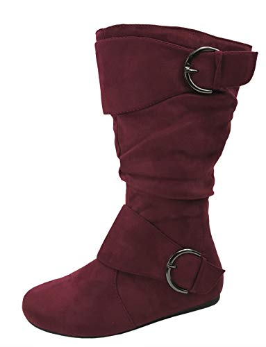 Forever Link Womens Closed Round Toe Buckle Slouch Flat Heel Mid-Calf Boot, Burgundy, 8