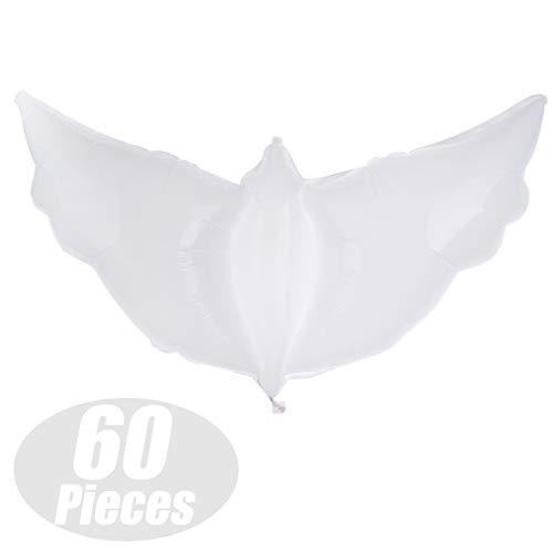 GOGO 60 Pieces Large White Dove Balloons, Biodegradable Helium Balloons for Wedding/Birthday/Ceremony]()