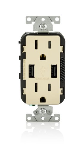 Leviton T5632-I USB Charger/Tamper-Resistant Duplex Receptacle, 15-Amp, 8-Pack, Ivory by Leviton