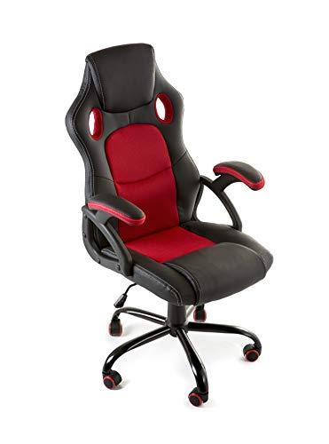 Home Heavenly®- Silla X-Gamer, de Oficina, sillon Gaming ergonomico, diseno de Oficina y despacho, Escritorio, con Ruedas (Rojo)