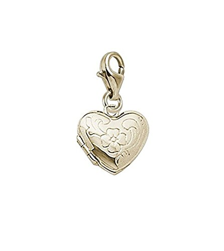 Gold Plated Locket Charm With Lobster Claw Clasp, Charms for Bracelets and Necklaces Gold Plated Locket Brooch