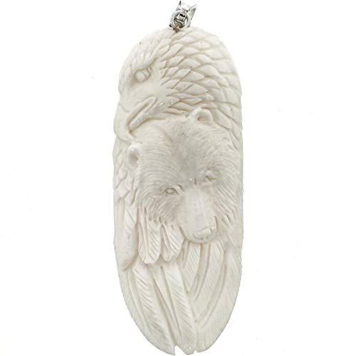 3 1/2'' HANDCARVED Eagle Bear Bison Bone Totem 925 Sterling Silver Pendant YE-1737
