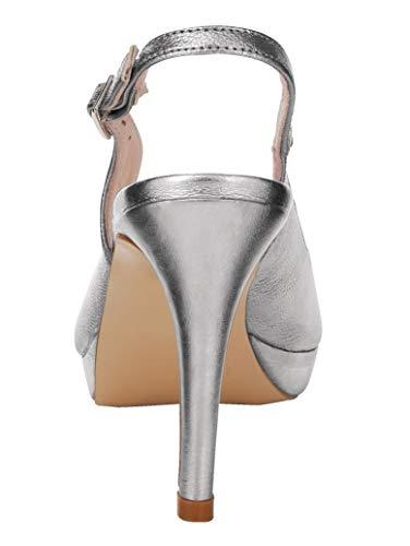 Plateausandale Damen Silberfarben metallisierendem aus KLiNGEL by Perlatoleder gfzZn5x