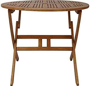 Sedona 90cm Round Garden Table FSC Hardwood Folding Patio Dining Table