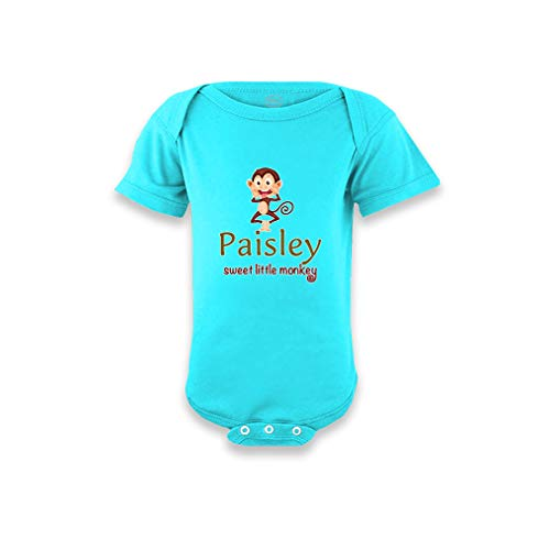 - Paisley Sweet Little Monkey Short Sleeve Envelope Neck Boys-Girls Cotton Baby Bodysuit One Piece - Aqua Blue, 12 Months