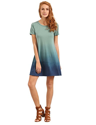 1d4b41154056 ROMWE Womens Tunic Swing T-Shirt Dress Short Sleeve Tie Dye Ombre ...