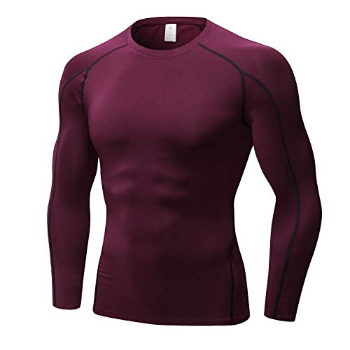 TONLEN Men's Long Sleeves T-Shirt Baselayer Cool Dry Compression Tops Red XL