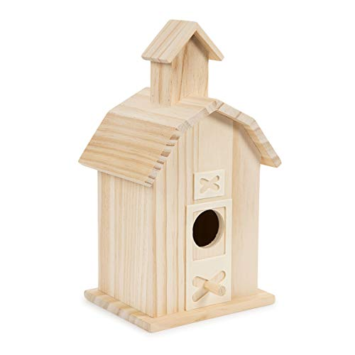 (Darice 30024506 Decorative Accents, 13.5 by 10 inch Wood Bird House, Multi)