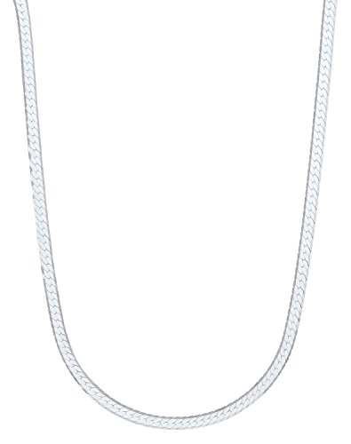 - 3mm 925 Sterling Silver Herringbone Chain Necklace, 24 Inch - Made in Italy + Bonus Polishing Cloth