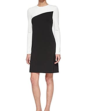 Theory Putello Colorblock Long-Sleeve Dress Black White