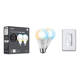 C by GE Smart Bundle Pack with 2 Smart Bulbs and Wire-Free Switch (2 LED A19 Tunable White Bulbs + Wire-Free Dimmer Smart Switch + Color Control)