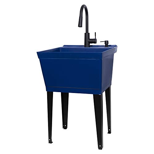Blue Utility Sink Laundry Tub With High Arc Black Kitchen Faucet By VETTA - Pull Down Sprayer Spout, Heavy Duty Slop Sinks For Washing Room, Basement, Garage, or Shop, Free Standing Tubs