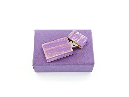 Natural Stained Maple - Maple Wood Antique Style 8GB Flash Drive-Natural Eco Vintage Collection USB 2.0 8 GB Drive - Stained in Amethyst Orchid Purple - Inserted into Super strong hand made paper box with Raffia grass inside