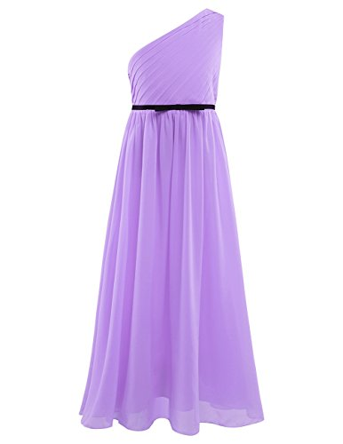 (CHICTRY Big Girls' A-Line Chiffon One Shoulder Flower Dress With Belt For Wedding Evening Prom Ball Gown Lavender 14)