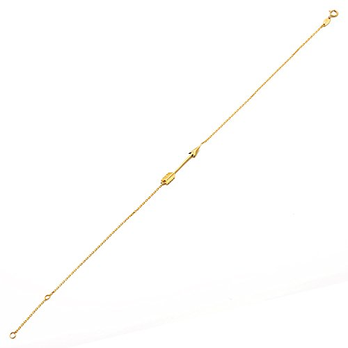 """MR. BLING 10K Yellow Gold .50mm Diamond Cut Rolo Chain with Arrow Charm Anklet Adjustable 9"""" to 10"""" (#5)"""