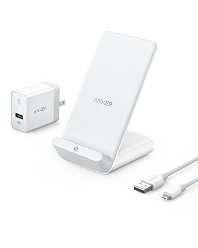 Anker PowerWave 7.5 Stand, 7.5W Fast Wireless Charger for iPhone X, iPhone 8/8 Plus, with 10W Fast Charge for Samsung S9/S9+/S8/S8+/S7/Note 8 (Quick Charge 3.0 AC Adapter Included) - Flip Face Watch