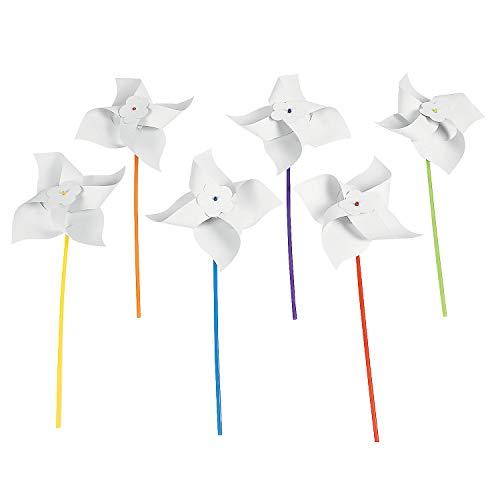 Fun Express - DIY Jumbo Paper Pinwheels - Craft Kits - DYO - Paper - Toy - 24 -