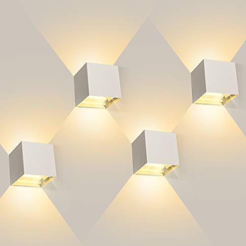 ledmo 4 stuks LED Wandlamp wit, 12W muurlampen binnen 3000k warm licht, IP65 waterdichte buitenwandlamp met instelbare…