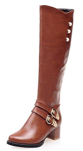 Aisun Women's Fashion Mid Chunky Heels Side Zipper Riding Knee High Boots Brown