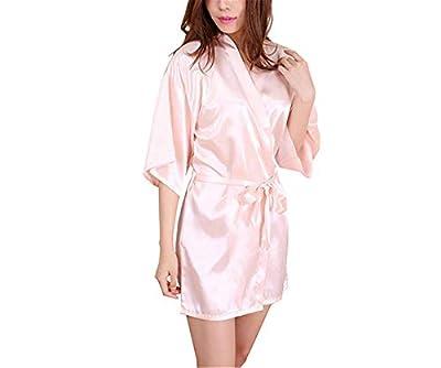 Rankei New Black Chinese Women's Faux Silk Robe Bath Gown Kimono Yukata Bathrobe Solid Color Sleepwear S M L XL XXL