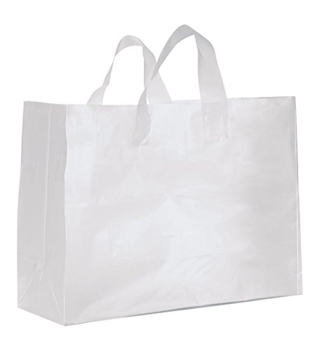- Large Clear Frosted Plastic Gift Bags - Case of 25