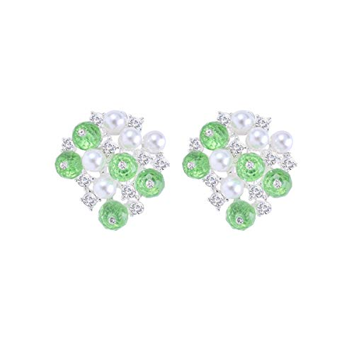 Fashion Artificial Pearl Rhinestone Peridot Crystal Beads Cluster Flowral Statement August Birthstone Clip On Earrings for Women Girls with Jewelry Gift Box