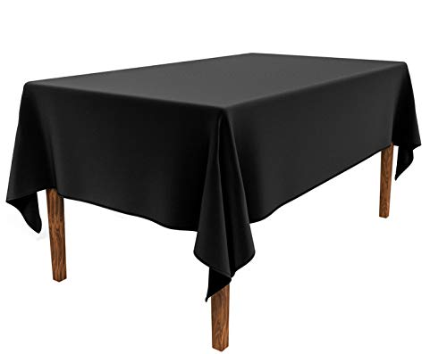 JESELRY Thicken Rectangle Tablecloth - Stain Resistant Restaurant Washable Polyester Rectangular Table Cloth Wrinkle Resistant Table Cover Spillproof Tablecloth for Dining Room (Black, 60X102 Inch)