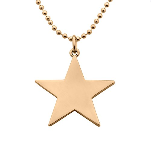 Ms Star (Smooth Five Point Star Pendant 18K Gold Plated Pentagram Long Chain Necklace 28'' 34'' MetJakt Ms. Stars)
