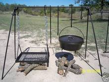 Portable Cook Set for Wood or Charcoal Grilling - Includes Four different length hooks and an adjustable grill