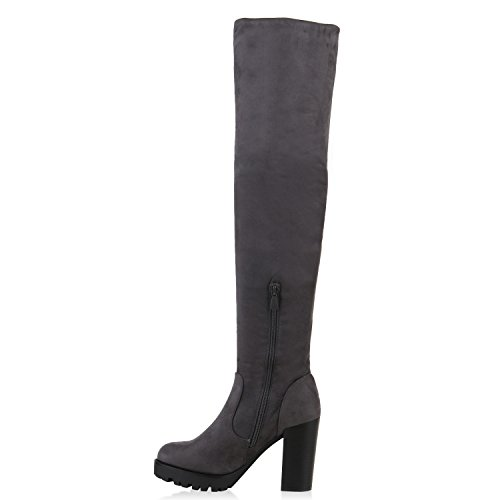 Stiefelparadies Damen Stiefel Overknees Profilsohle Flandell Grau Grau