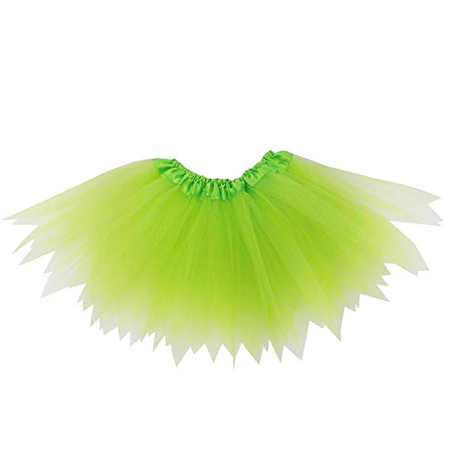 So Sydney Adult Plus Kids Size Pixie Fairy Tutu Skirt Halloween Costume Dress Up (M (Kid Size), Neon Green) -